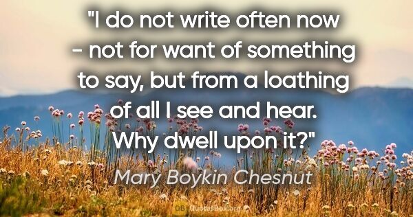 "Mary Boykin Chesnut quote: ""I do not write often now - not for want of something to say,..."""