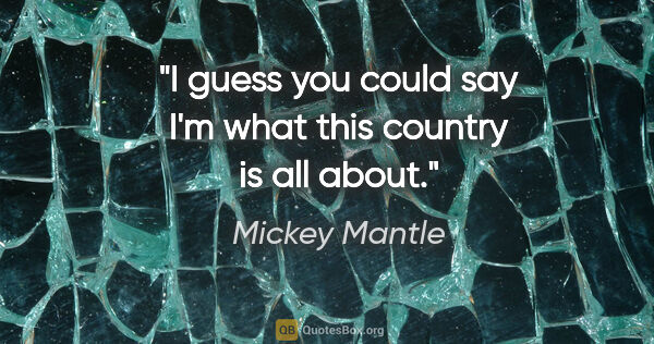 "Mickey Mantle quote: ""I guess you could say I'm what this country is all about."""