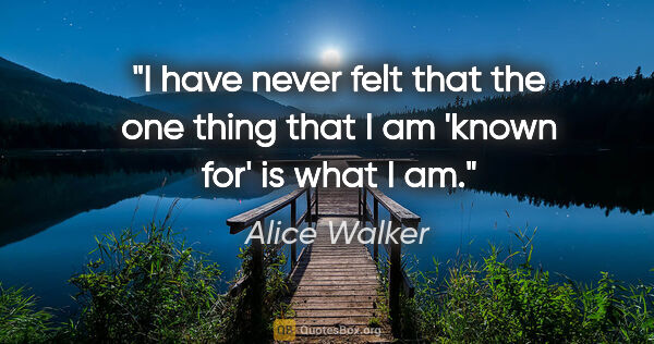 "Alice Walker quote: ""I have never felt that the one thing that I am 'known for' is..."""