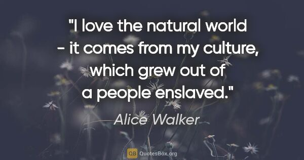 "Alice Walker quote: ""I love the natural world - it comes from my culture, which..."""