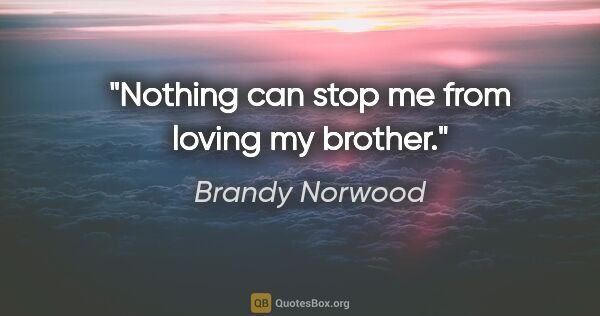 "Brandy Norwood quote: ""Nothing can stop me from loving my brother."""