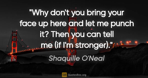 "Shaquille O'Neal quote: ""Why don't you bring your face up here and let me punch it?..."""