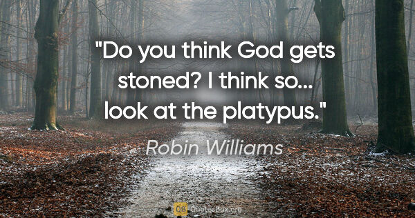 "Robin Williams quote: ""Do you think God gets stoned? I think so... look at the platypus."""