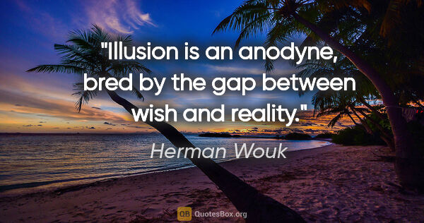 "Herman Wouk quote: ""Illusion is an anodyne, bred by the gap between wish and reality."""