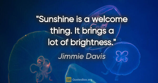 "Jimmie Davis quote: ""Sunshine is a welcome thing. It brings a lot of brightness."""