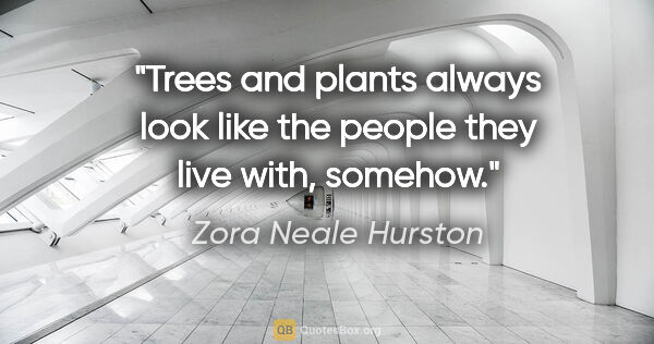 "Zora Neale Hurston quote: ""Trees and plants always look like the people they live with,..."""