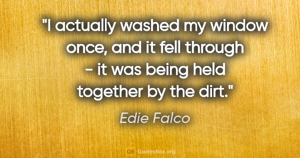 "Edie Falco quote: ""I actually washed my window once, and it fell through - it was..."""