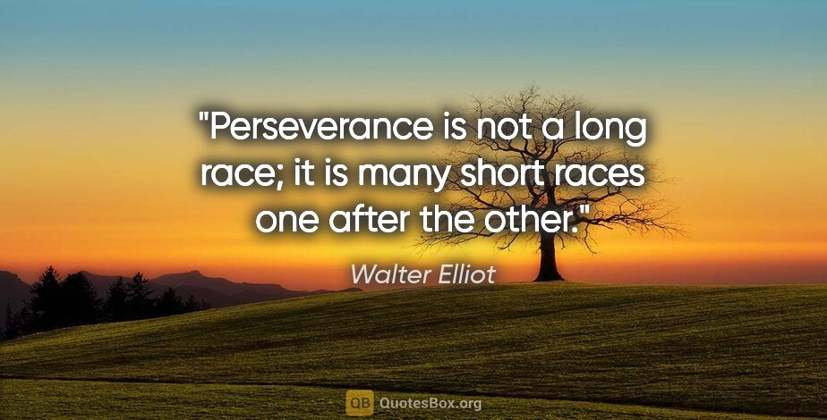 "Walter Elliot quote: ""Perseverance is not a long race; it is many short races one..."""