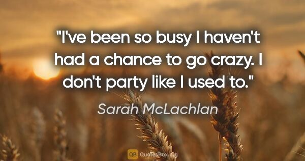 "Sarah McLachlan quote: ""I've been so busy I haven't had a chance to go crazy. I don't..."""