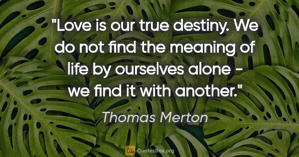 "Thomas Merton quote: ""Love is our true destiny. We do not find the meaning of life..."""