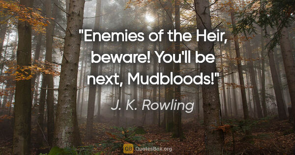 "J. K. Rowling quote: ""Enemies of the Heir, beware! You'll be next, Mudbloods!"""