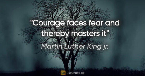 "Martin Luther King jr. quote: ""Courage faces fear and thereby masters it"""