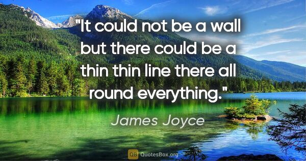 "James Joyce quote: ""It could not be a wall but there could be a thin thin line..."""