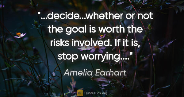 "Amelia Earhart quote: ""decide...whether or not the goal is worth the risks involved...."""