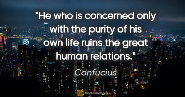 "Confucius quote: ""He who is concerned only with the purity of his own life ruins..."""