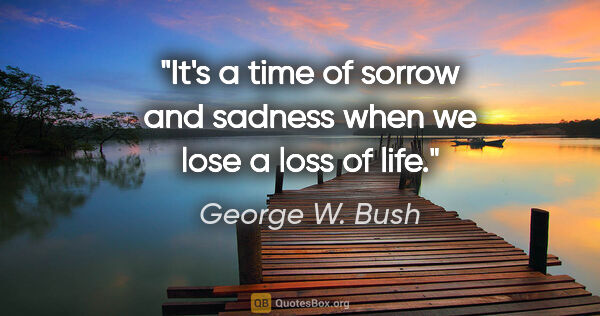 "George W. Bush quote: ""It's a time of sorrow and sadness when we lose a loss of life."""