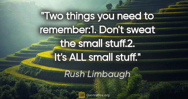 "Rush Limbaugh quote: ""Two things you need to remember:1. Don't sweat the small..."""