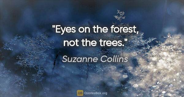 "Suzanne Collins quote: ""Eyes on the forest, not the trees."""