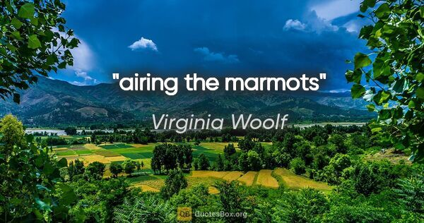 "Virginia Woolf quote: ""airing the marmots"""