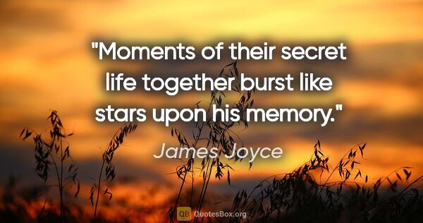 "James Joyce quote: ""Moments of their secret life together burst like stars upon..."""