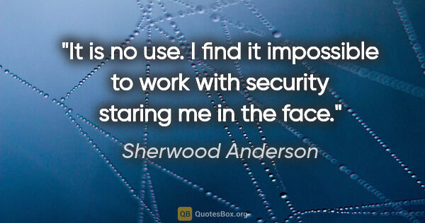 "Sherwood Anderson quote: ""It is no use. I find it impossible to work with security..."""