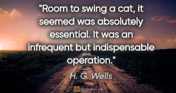 "H. G. Wells quote: ""Room to swing a cat, it seemed was absolutely essential. It..."""