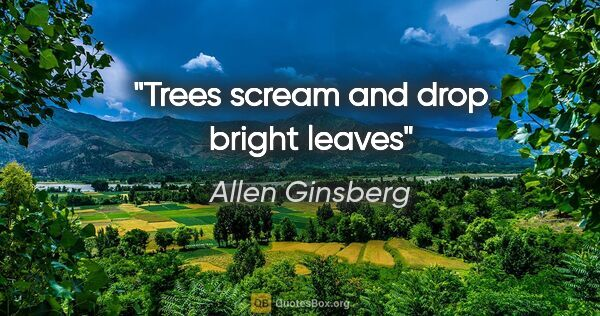 "Allen Ginsberg quote: ""Trees scream and drop bright leaves"""