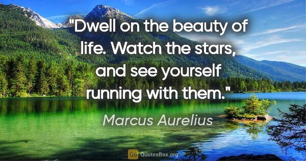 "Marcus Aurelius quote: ""Dwell on the beauty of life. Watch the stars, and see yourself..."""