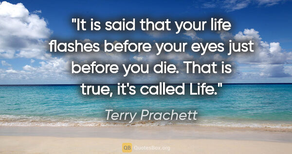 "Terry Prachett quote: ""It is said that your life flashes before your eyes just before..."""