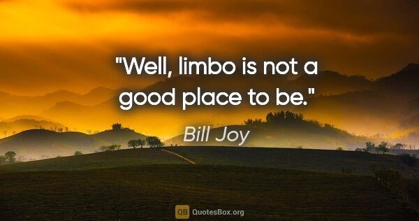 "Bill Joy quote: ""Well, limbo is not a good place to be."""