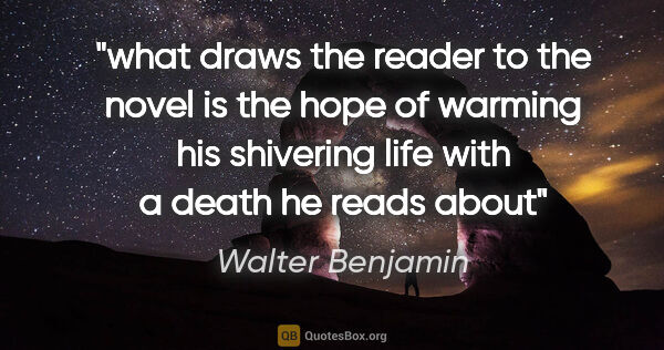 "Walter Benjamin quote: ""what draws the reader to the novel is the hope of warming his..."""