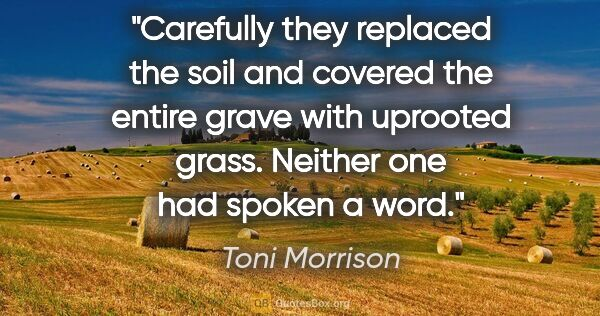 "Toni Morrison quote: ""Carefully they replaced the soil and covered the entire grave..."""