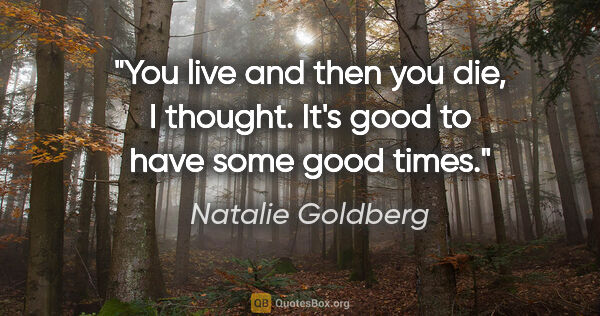 "Natalie Goldberg quote: ""You live and then you die, I thought. It's good to have some..."""