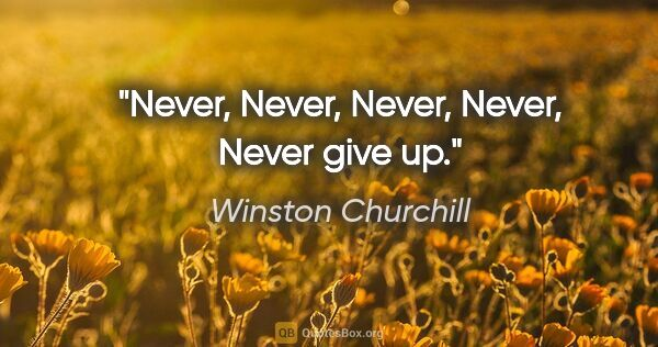 "Winston Churchill quote: ""Never, Never, Never, Never, Never give up."""