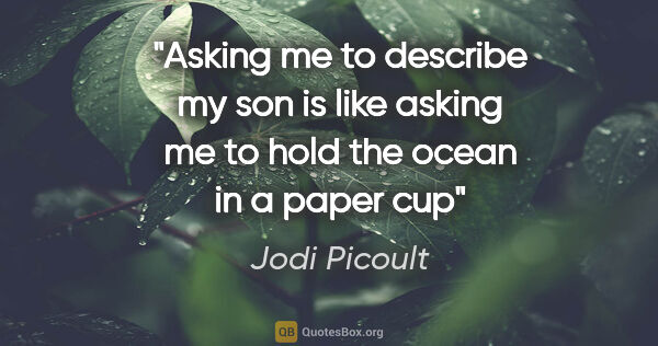 "Jodi Picoult quote: ""Asking me to describe my son is like asking me to hold the..."""