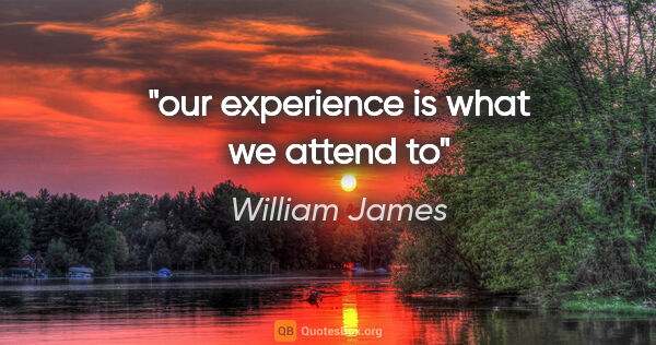 "William James quote: ""our experience is what we attend to"""
