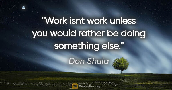 "Don Shula quote: ""Work isnt work unless you would rather be doing something else."""