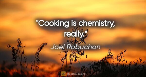 "Joel Robuchon quote: ""Cooking is chemistry, really."""