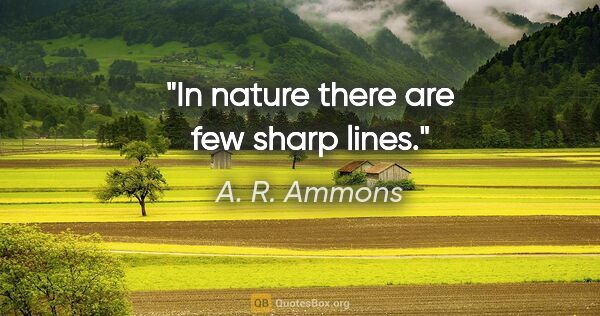 "A. R. Ammons quote: ""In nature there are few sharp lines."""