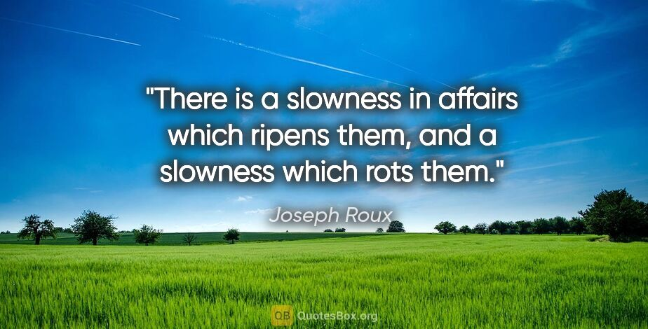 """Joseph Roux quote: """"There is a slowness in affairs which ripens them, and a..."""""""