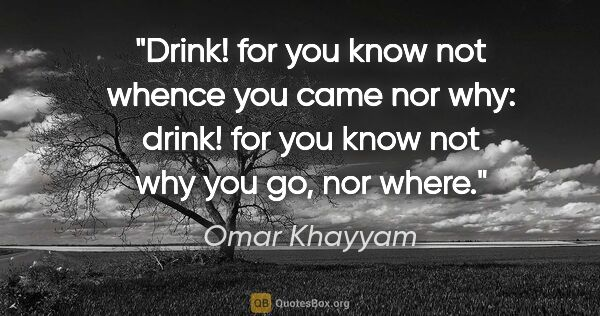 "Omar Khayyam quote: ""Drink! for you know not whence you came nor why: drink! for..."""