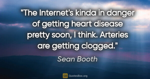 "Sean Booth quote: ""The Internet's kinda in danger of getting heart disease pretty..."""