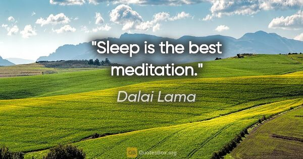 "Dalai Lama quote: ""Sleep is the best meditation."""