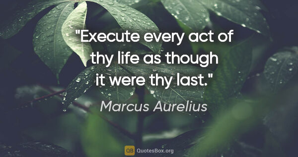 "Marcus Aurelius quote: ""Execute every act of thy life as though it were thy last."""